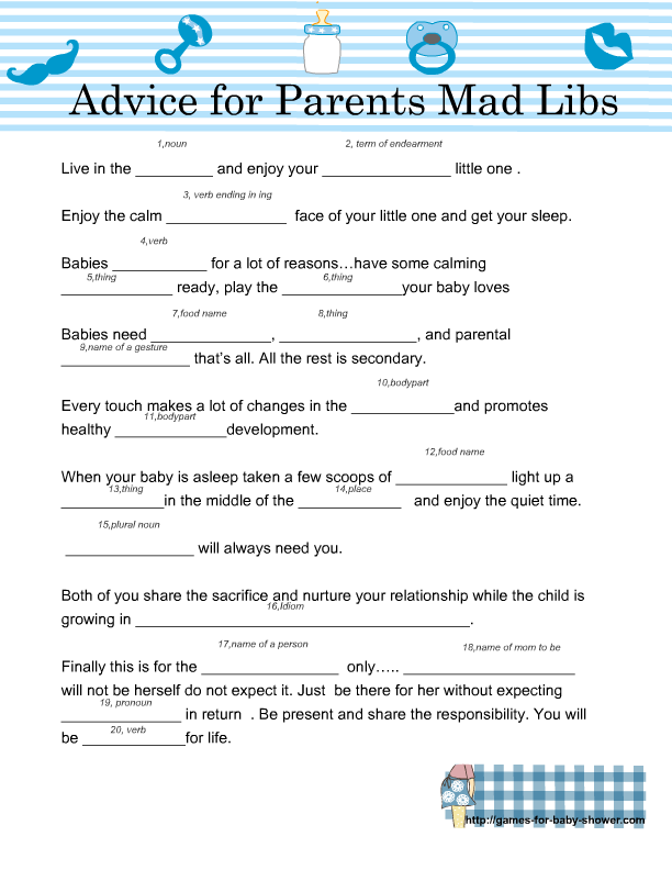 photograph regarding Baby Shower Mad Libs Printable identify No cost Printable Youngster Shower Outrageous Libs ( Guidance for the Moms and dads)