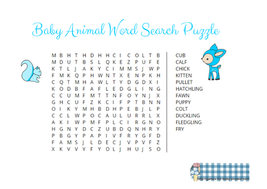Free printable baby animal word search game in blue color