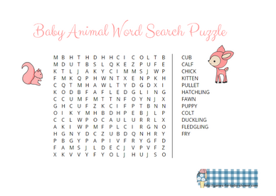 Free Printable Baby Animal Word Search Game in Pink Color