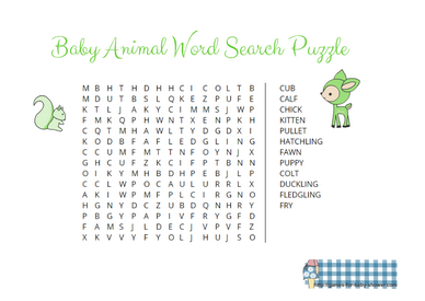 Animal Baby Word Search Printable in Green Color