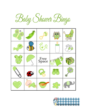Free Printable Baby Shower Picture Bingo Game in Green Color