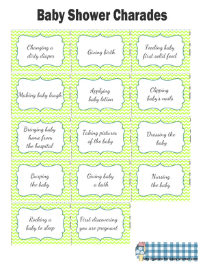 Free Printable Baby Shower Charades Cards in Green Color
