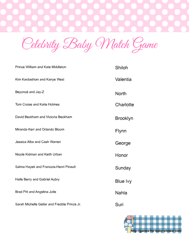 template Celebrity Name Baby Shower Game Printable celebrity match game baby shower activity celebrity baby names celebrity name game
