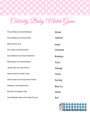 Free printable celebrity baby name matching game in Pink color