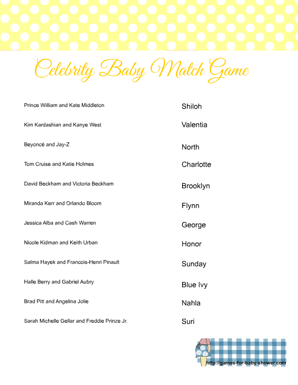 Free Printable Match The Celebrity Baby Name Game
