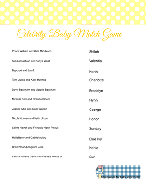 Free printable celebrity baby name game in yellow color