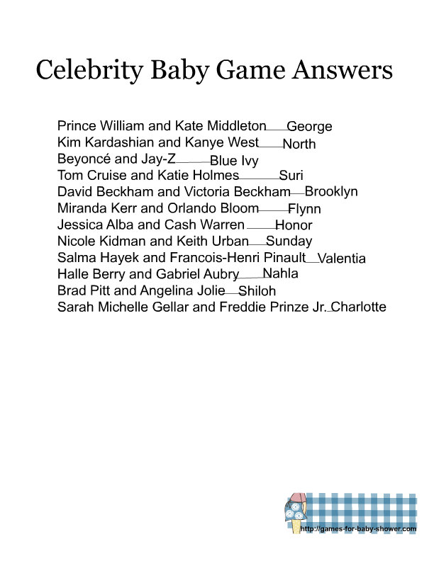photo about Celebrity Baby Name Game Printable titled Totally free Printable Sport the Movie star Little one Track record Recreation