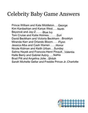 Free printable celebrity baby name game answer key