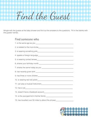 Free Printable Find the Guest Ice-breaker game in blue color