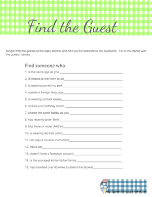 Find the guest game printable free in green color