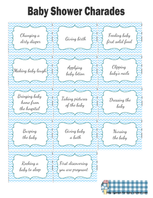 Free Printable Baby Shower Charades Clues in Blue Color
