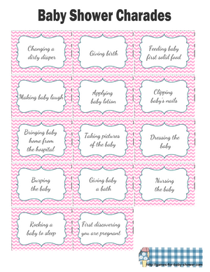 Baby Shower Charades Cards Printable in Pink Color