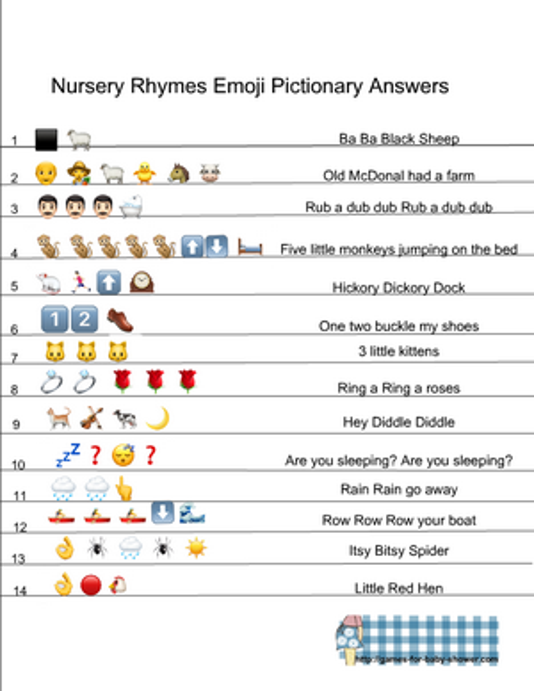 Free Printable Nursery Rhymes Emoji Pictionary Quiz