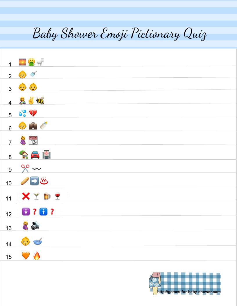 Free Printable Baby Shower Emoji Pictionary Quiz