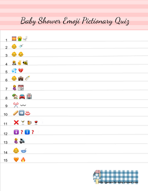 Free Printable Baby Shower Emoji Pictionary Quiz in Pink Color