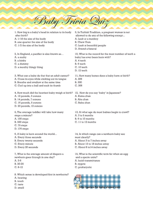 Baby Shower Trivia Quiz Printable in Gender Neutral Colors