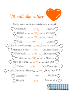 Would she rather game printable in orange color