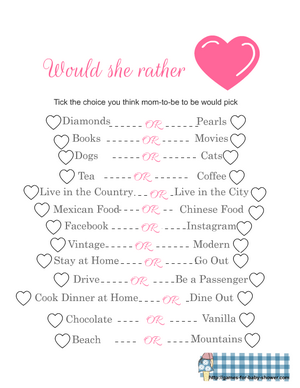 Would she rather free printable baby shower game in Pink color
