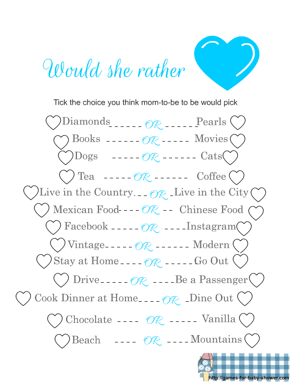 graphic relating to Would You Rather Cards Printable identified as FFree Printable Would She In its place Video game
