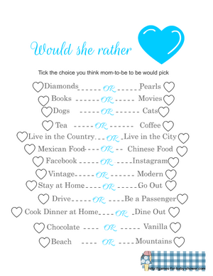 Free Printable would she rather baby shower game in blue color