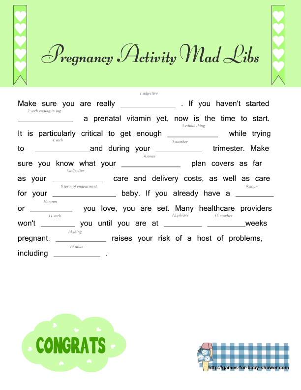 photo regarding Printable Mad Libs Sheets for Adults referred to as Free of charge Printable Being pregnant Information Ridiculous Libs for Boy or girl Shower