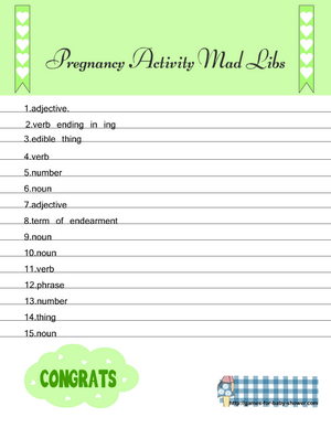 Free Printable Pregnancy Actiivity Mad libs sheet B
