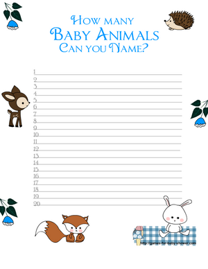 How Many Baby Animals Can You Name ? Game in Blue Color