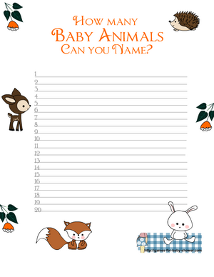 Free Printable How Many Animals can You Name? Game