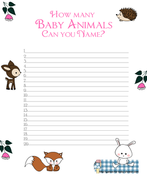 Free Printable How many baby animals can you name? Game in Pink Color