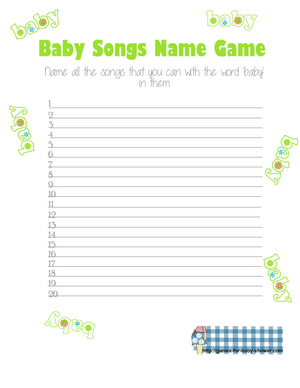 How Many Baby Songs Can you Name? Free Printable Game