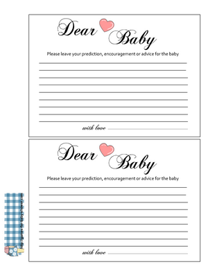 Free Printable advice for baby cards in pink color