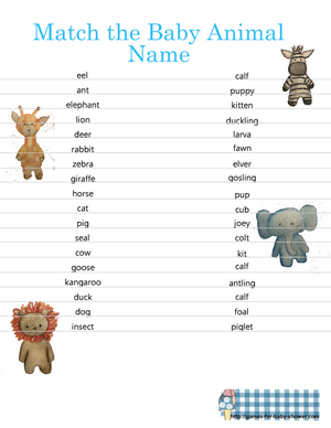 Free Printable Baby Animal matching game in blue color