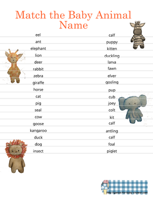 Match the baby animal name game printable in orange color