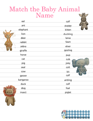 Free printable match the baby animal game in pink color