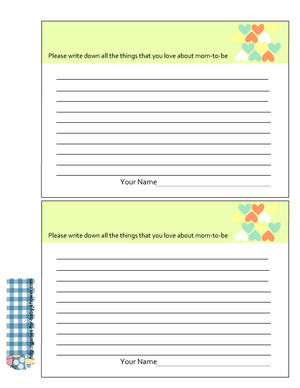 Free Printable things I love about mom to be cards in green color