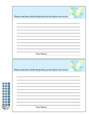 Free Printable things I love about mom to be cards in blue color