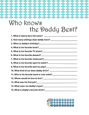 Free Printable who knows daddy best game in blue color