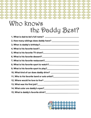 Free Printable who knows the daddy best game