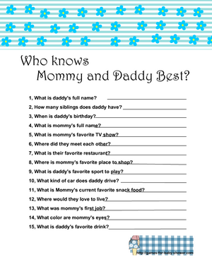 Free Printable who knows mommy and daddy best game in blue color