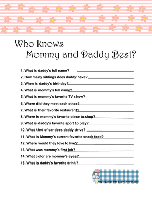 Who knows mommy and daddy best free printable game