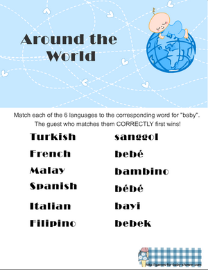 around the world baby shower game printable in blue color