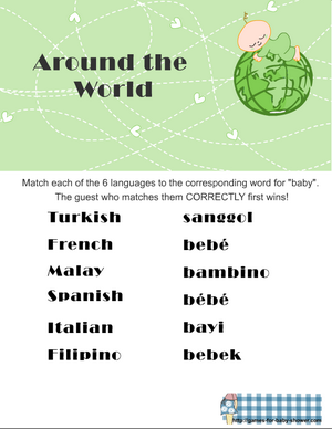free printable around the world baby shower game in green color