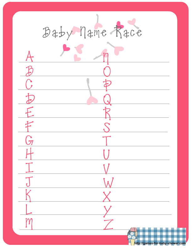 Free Printable Baby Name Race Game For Baby Shower