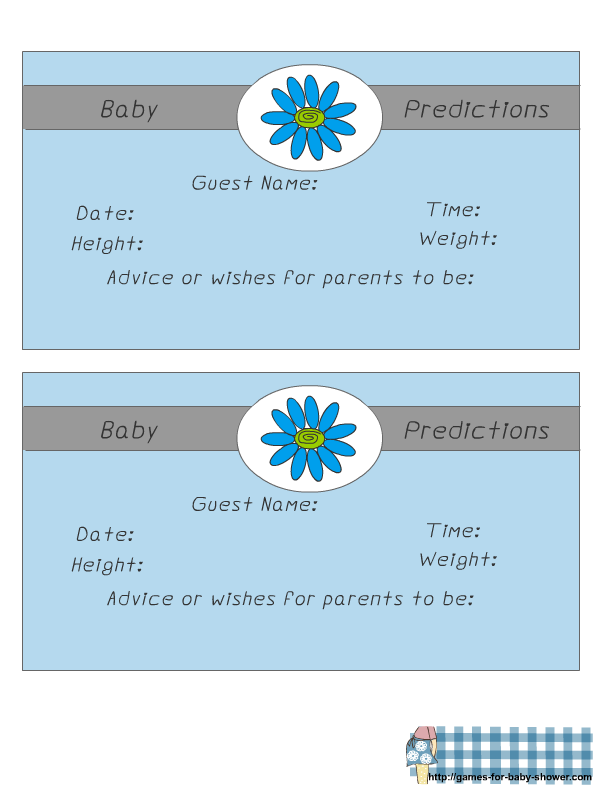 Girl Baby Shower Baby Prediction Game Cards Free Printable