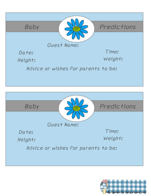 free printable baby predictions game in blue color