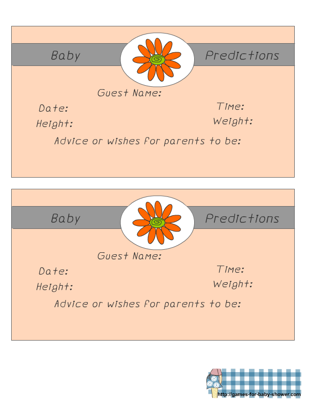 Free Printable Predictions For Baby Game Cards For Baby Shower