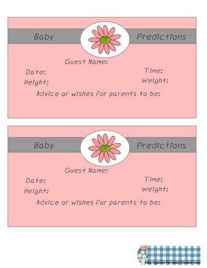 free printable predictions for baby game in pink color