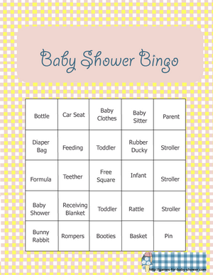 Superior Free Printable Baby Shower Bingo Game In Yellow Color