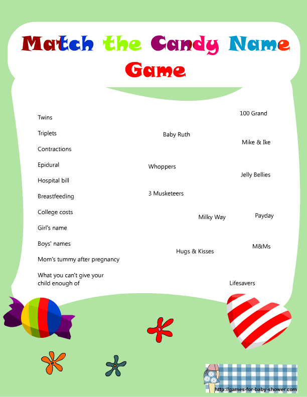 baby shower candy games free printable match the candy bar name game