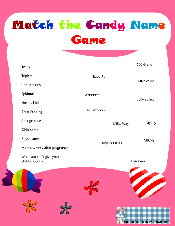 Match The Candy Name Baby Shower Game In Pink Color